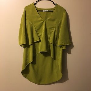 Zara Size M chartreuse high low layered blouse